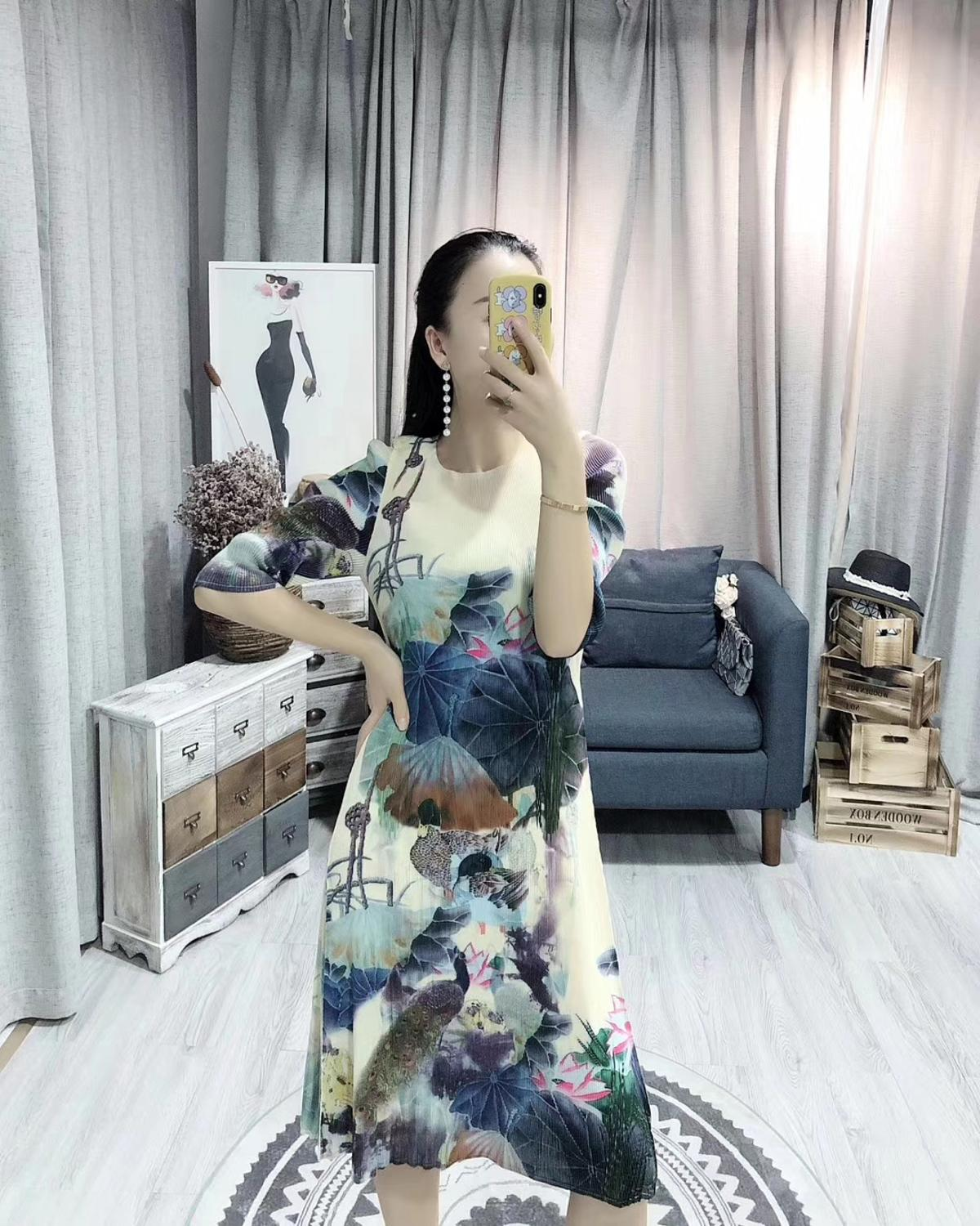 HOT SELLING Miyake new fashion fold Chinese style ink painting half sleeve o-neck dress IN STOCK 1