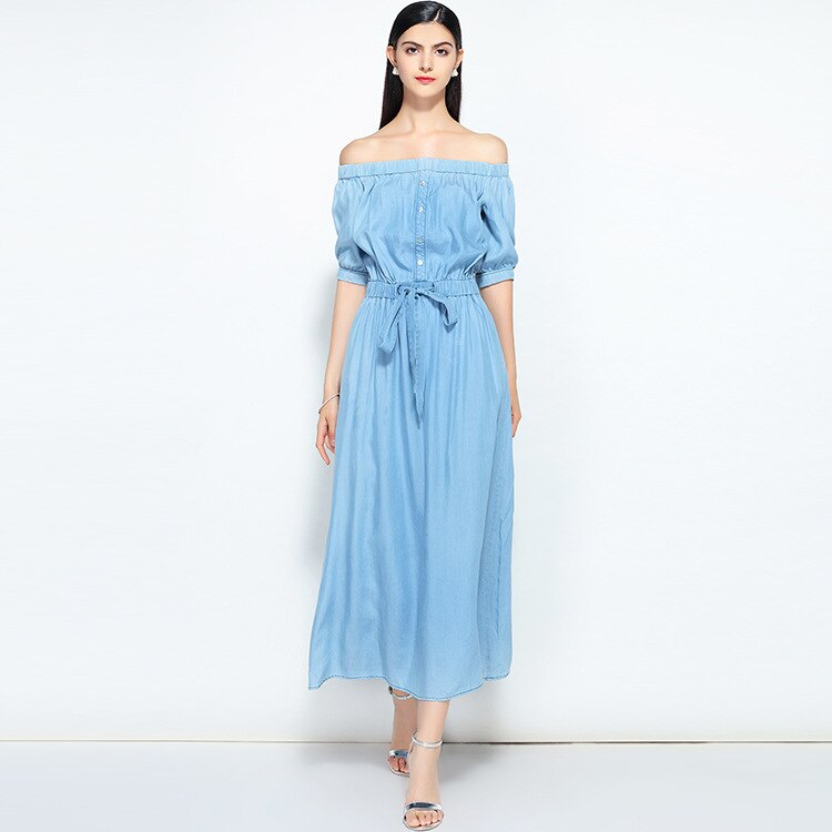 19 new summer casual slim dress women elegant slash neck half sleeve denim dresses vestidos de verano women clothes 19 2