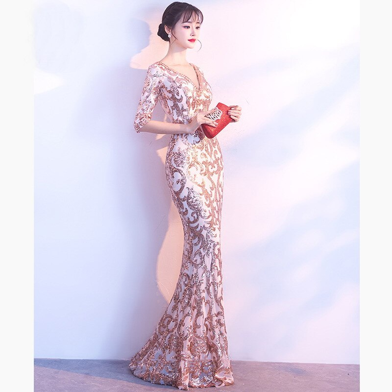 Gold Paisley Sequined Gem Beaded V Neck Half Sleeve Luxury Special Occasion Long Dresses For Women Elegant Sexy Club Party Dress 2