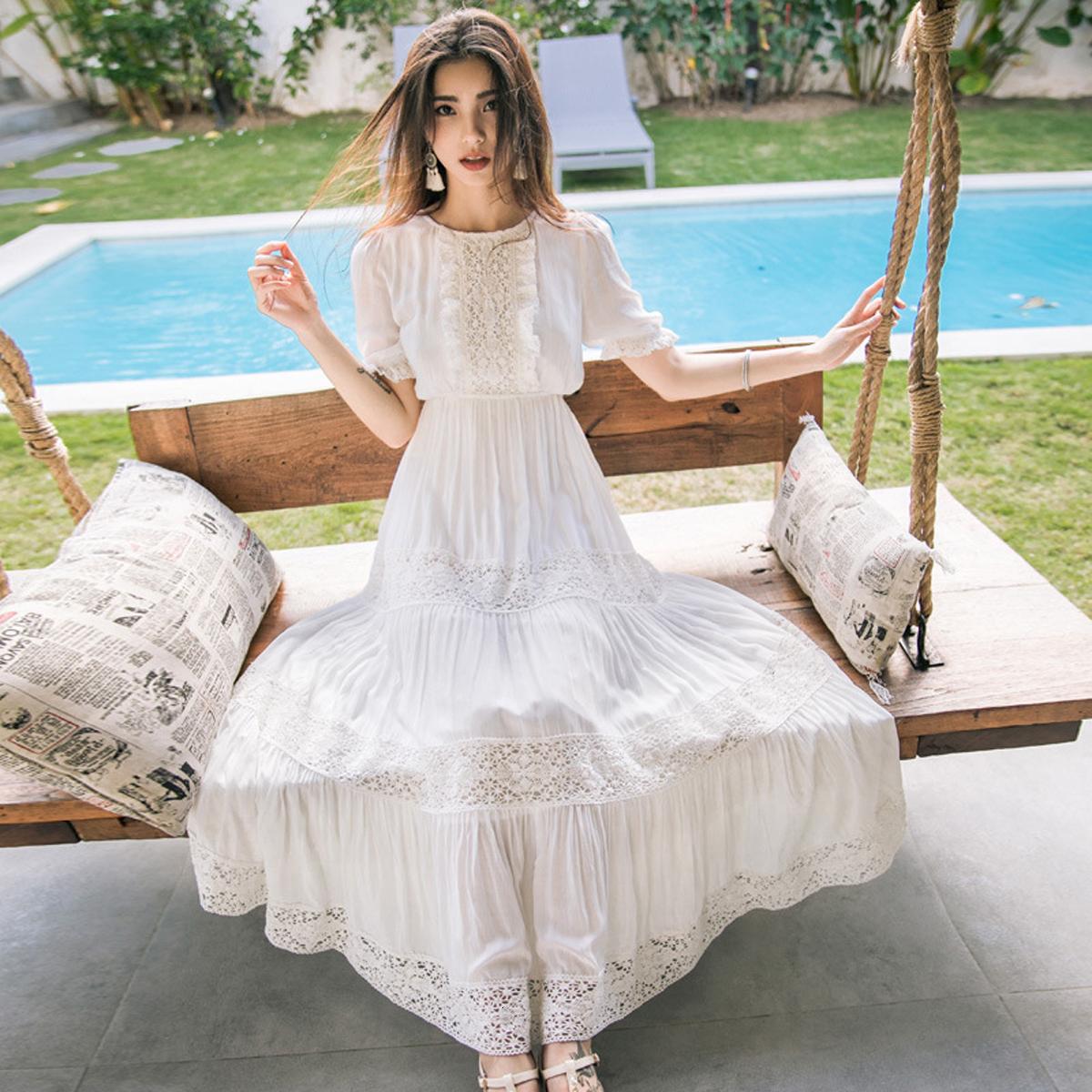 New Bohemian Hippie Big Swing Holiday Beach Dress O-Neck Half Sleeve Spring Summer Dresses Women White Patchwork Lace Dress 2
