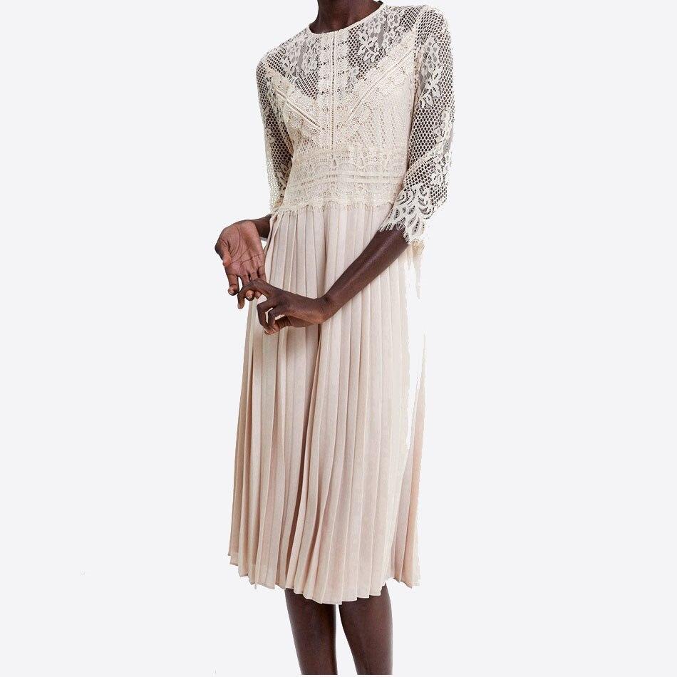 Women Fashion Half Sleeve Dress Lace Mid-Calf Femme Dress Vestidos Robe Solid O Neck Pleated Dress 3