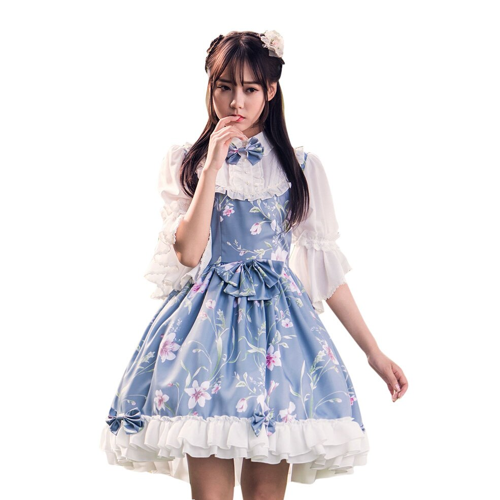 Fairy Princess Lolita Dress Vintage Chinese Style Floral Printed Half Sleeve Lolita OP Dress 2