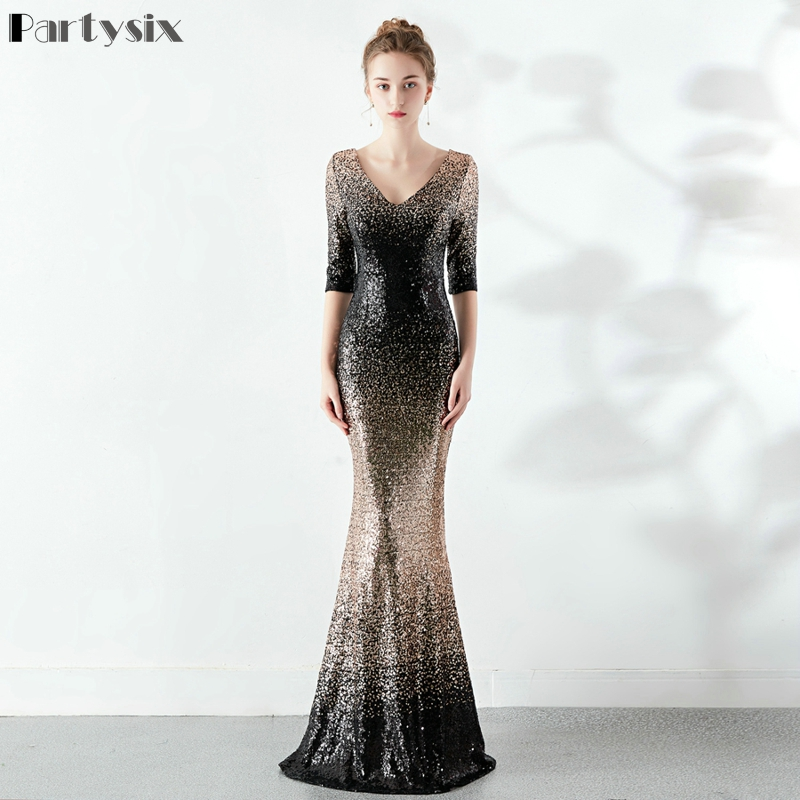 Partysix Elegant Sequins Dress Half Sleeve Evening Party Long Dress 1
