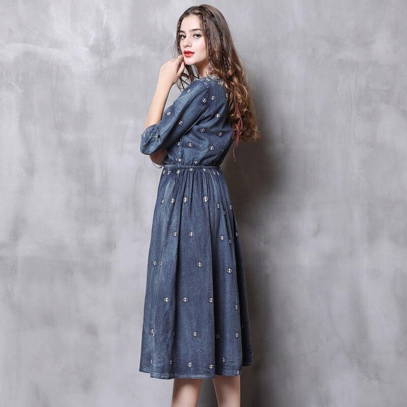 Vintage Autumn Dress Women 18 Denim Summer Dress V-Neck A-Line Half Sleeve Embroidery Women Dresses Vestidos Femininos 82110 3