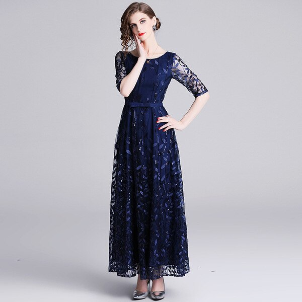 Embroidery Mesh Half Sleeve Long Maxi Dress Women  Spring Summer Prom Evening Party Special Occasion Wear Dresses Female 3