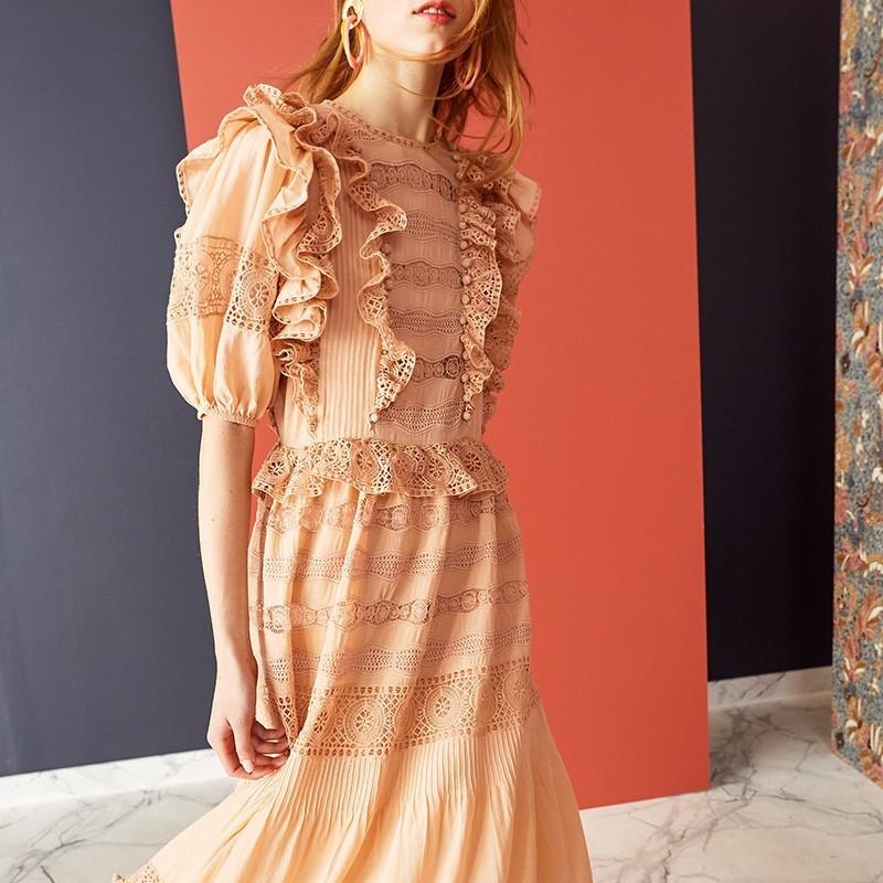 GALCAUR Summer Hair balls Lace Patchwork Dress For Women O Neck Half Sleeve High Waist Midi Dresses Female Fashion 19 Elegant 2