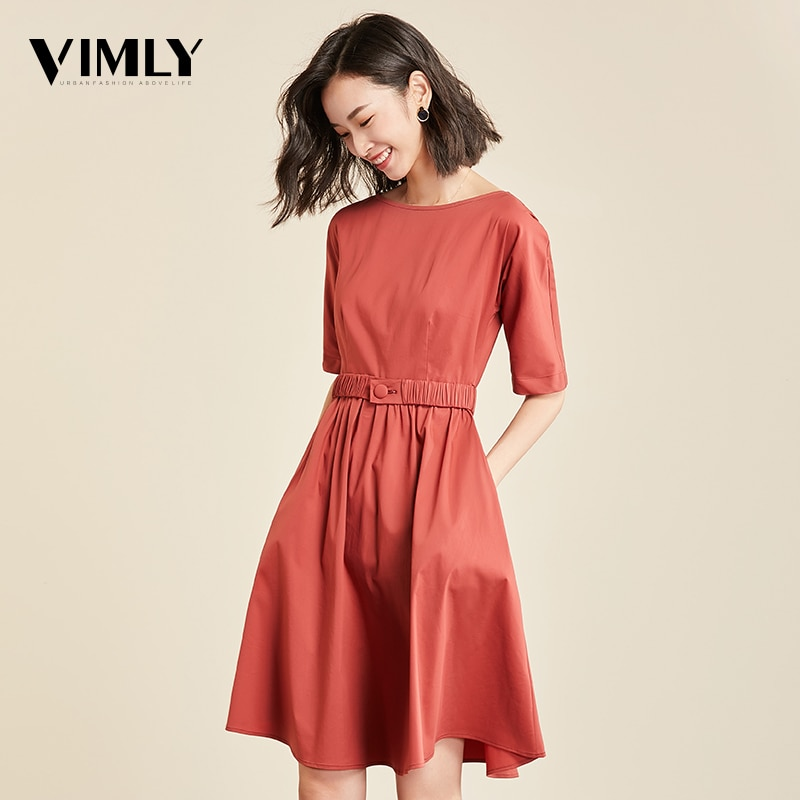 Vimly Casual Office Dress Half Sleeve Elegant Tunic Solid Dresses Female O Neck Zipper Belted A Line Dress Vestidos OL Style 2
