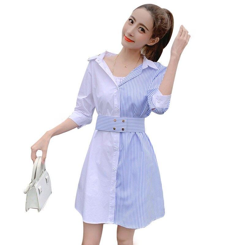 Stripe Patchwork Fashion Shirt Dress Women Summer Elbise New Dress Shirt V neck Half Sleeve Dresses Casual Korean Vestidos f359 1