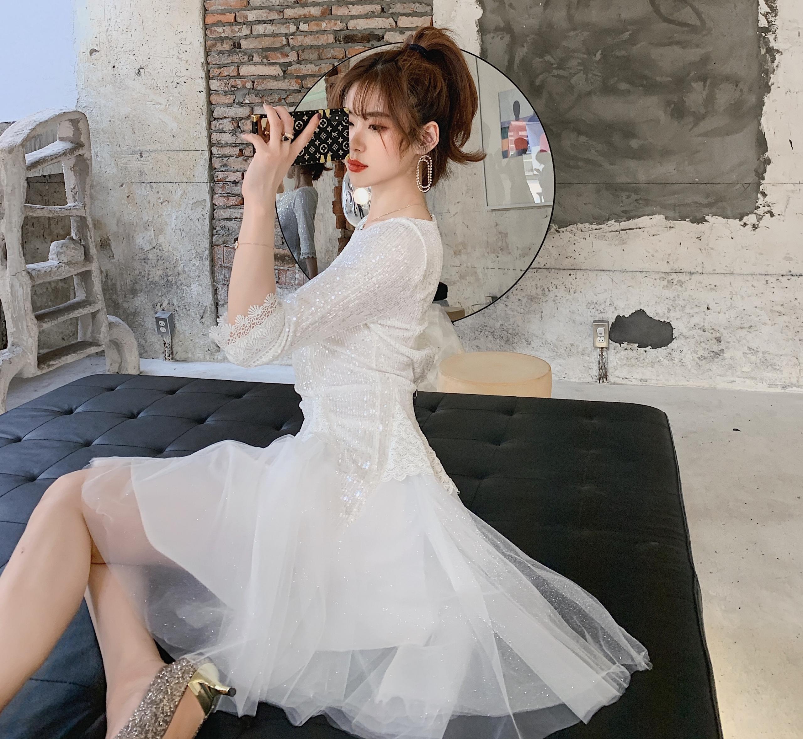 Runway Women Mesh Ball Gown Party Dress  Spring Sexy Sequined Half Sleeve Slim Luxury Fashion Designer Dress Elegant Vestido 2