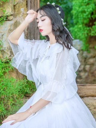 Women New Fashion Fairy White Dress Lace-up Collar Ruffles Half Sleeve Chiffon Long Dress Vestidos Mujer Robe Femme 19
