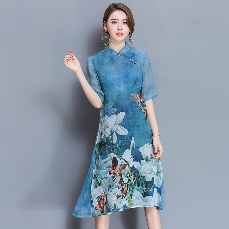 AYUNSUE Vintage Qipao Floral Dress Stand Collar Women Spring Summer Half Sleeve Slim Chiffon Dresses Vestidos Plus Size WXF596 2