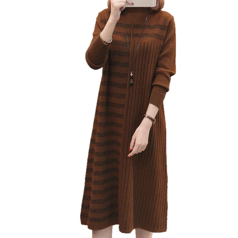 19 Women Autumn Winter Half Turtleneck Pullover Knitted Sweater Dress Female Elegant Loose Long Sleeve Striped Pull Knit Dress 1