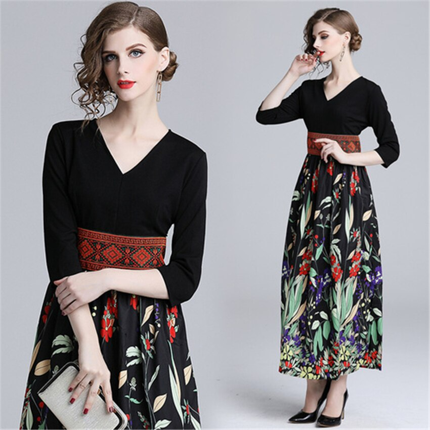 Summer Casual Half Sleeve Slim A-line Dress 19 Vintage Patchwork print Maxi Dresses Boho V Neck long Dress vestidos de fiesta 2