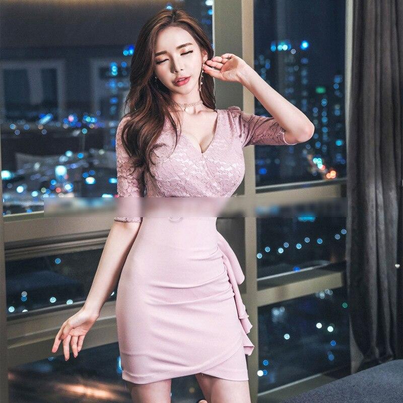 Plus Size Asymmetrical Dress 18 Autumn Women Pink Half Sleeve Lace V-neck Ruffles Sexy Club Short Dress Boho Dresses Vestidos 2