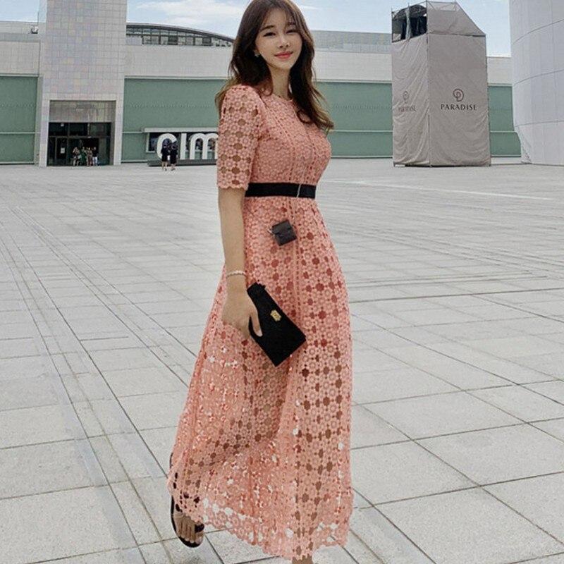 19 New Runway Hollow Out Patchwork Elegant Long Dress Women Autumn Ankle-length Swing OL Lace Half Sleeve Dresses Vestidos 1