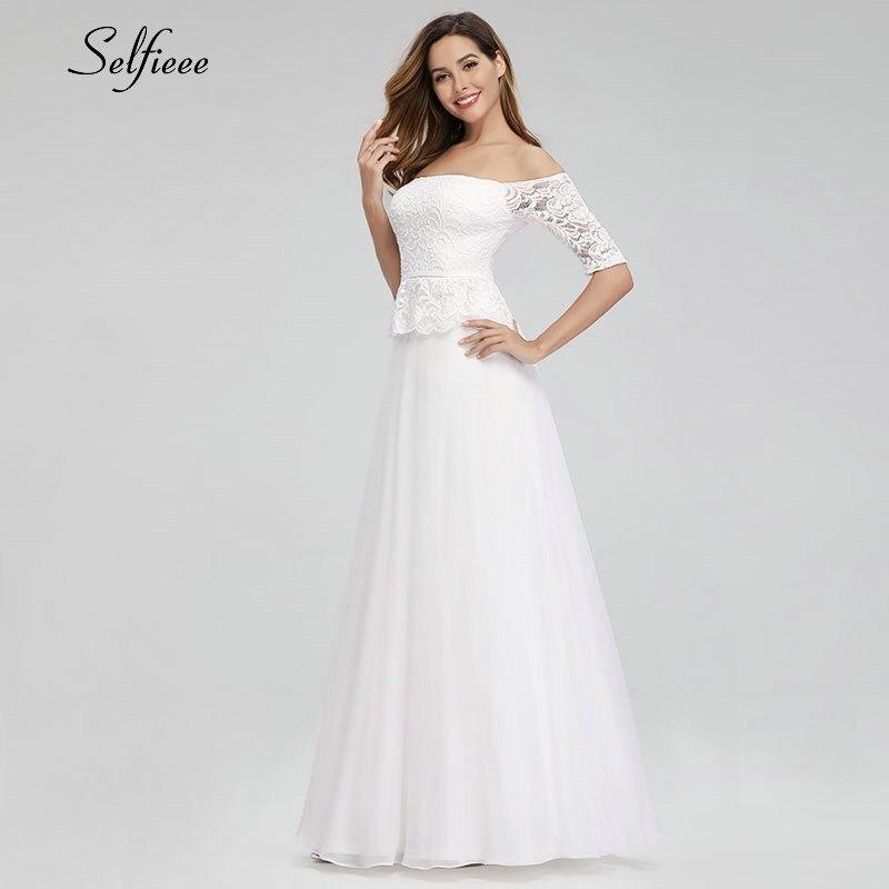 Elegant White Maxi Dresses Off The Shoulder A-Line Half Sleeve White Lace Women Long Summer Dresses Robe Longue Femme Ete 19 3