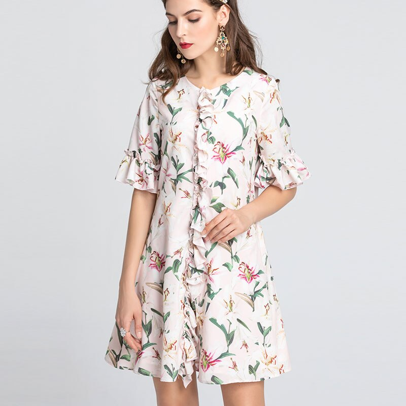 by Megyn 19 runway fashion women loose floral print half sleeve O-neck summer dress good quality 2XL plus size платье летнее 3