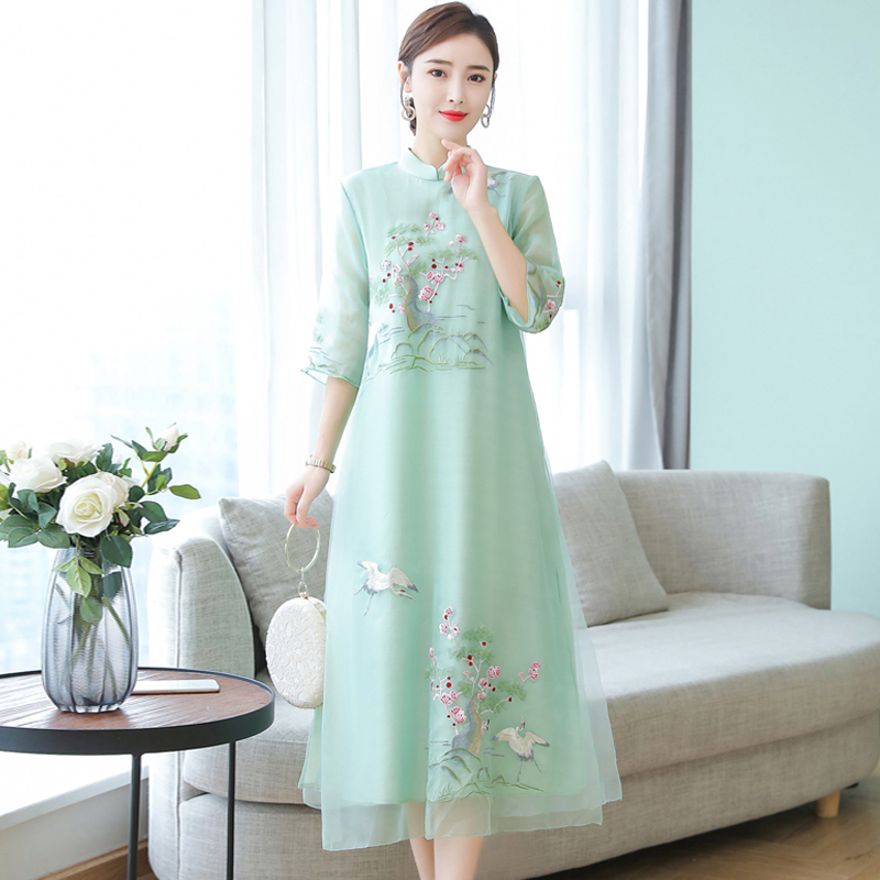 Embroidery Chinese Style Dress Vintage Half sleeve Large size 4XL Long dress Summer new fashion Voile Ankle-Length dress womens 3