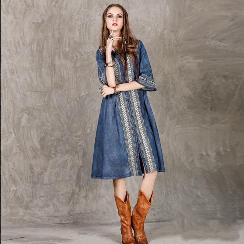 19 Autumn New Retro Fashion Embroidery V-neck Single Breasted Denim Dress Loose Plus Size Half Sleeve Women Dresses 2