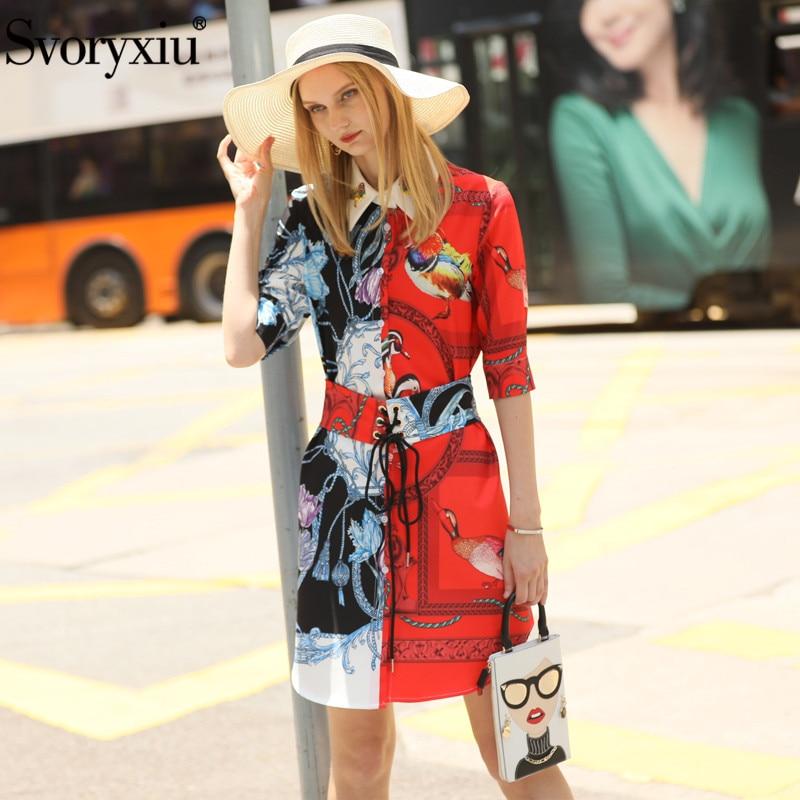 Svoryxiu Fashion Designer Summer Girdle Dress Women's Elegant Beading Half Sleeve Color Matching Printed Dress Vestdios 1
