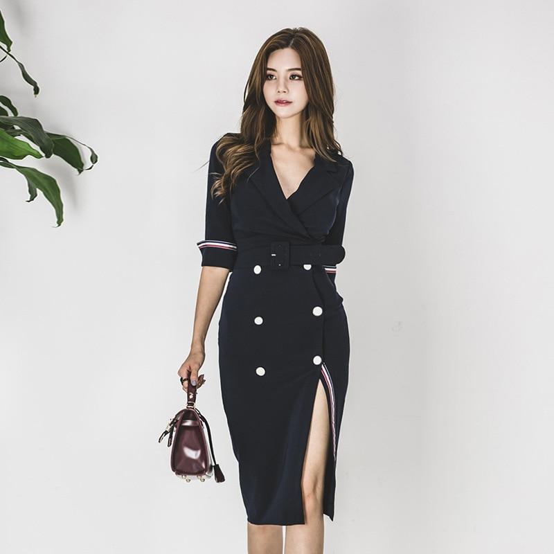 Plus Size Pencil Dress 18 Women Blue Half Sleeve Notched Knee-length Korean Work Suit Dress Autumn Wrap Button Dresses Ladies 2