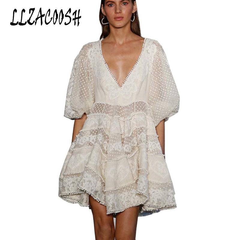 Runway Designer Deep V-Neck Hollow Out Summer Short Dress Women Half sleeve White Dress 18 Beach casual Chic Mini Dress