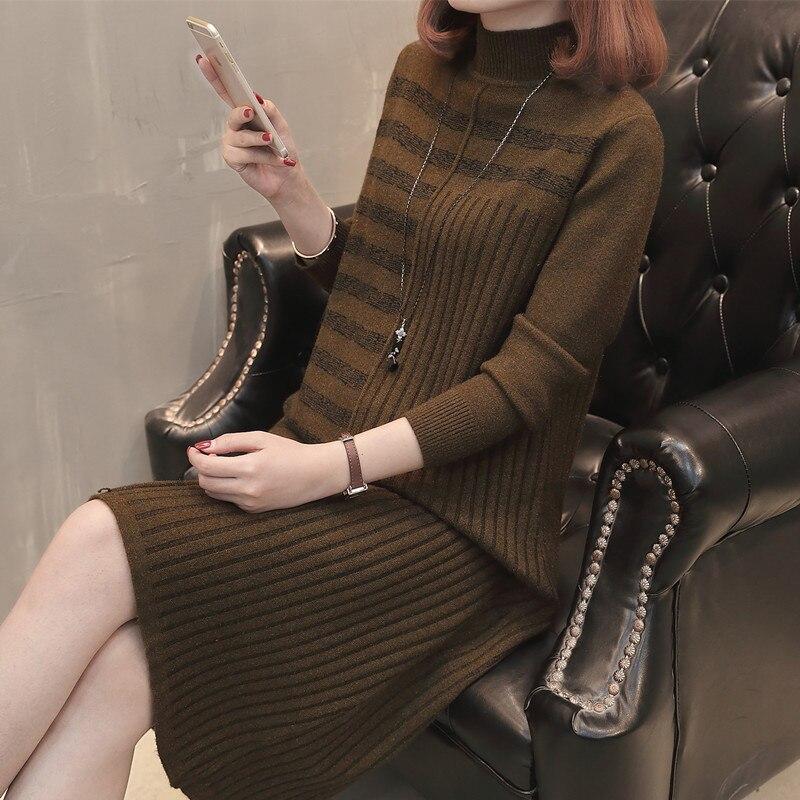 19 Women Autumn Winter Half Turtleneck Pullover Knitted Sweater Dress Female Elegant Loose Long Sleeve Striped Pull Knit Dress 2