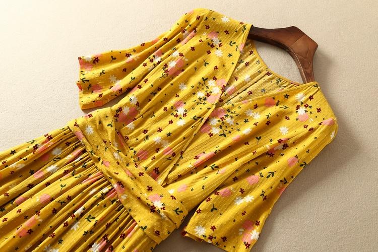 CAMIA French 100% viscose V collar waist knot half sleeve floral printing Elegant and high quality midi dress 2