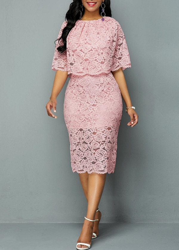 Large Size Dress Round Neck Lace Cutout Dress Female Elegant Five-point Sleeves Slim Party Large Size Dress Female Vestidos 5xl