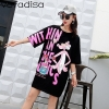 Vefadisa Pink Letter Dress Women Cartoon Printing Dress Half Sleeve Mini Dress Summer Sequin Lips T Shirt Loose Long Tops ZLD840