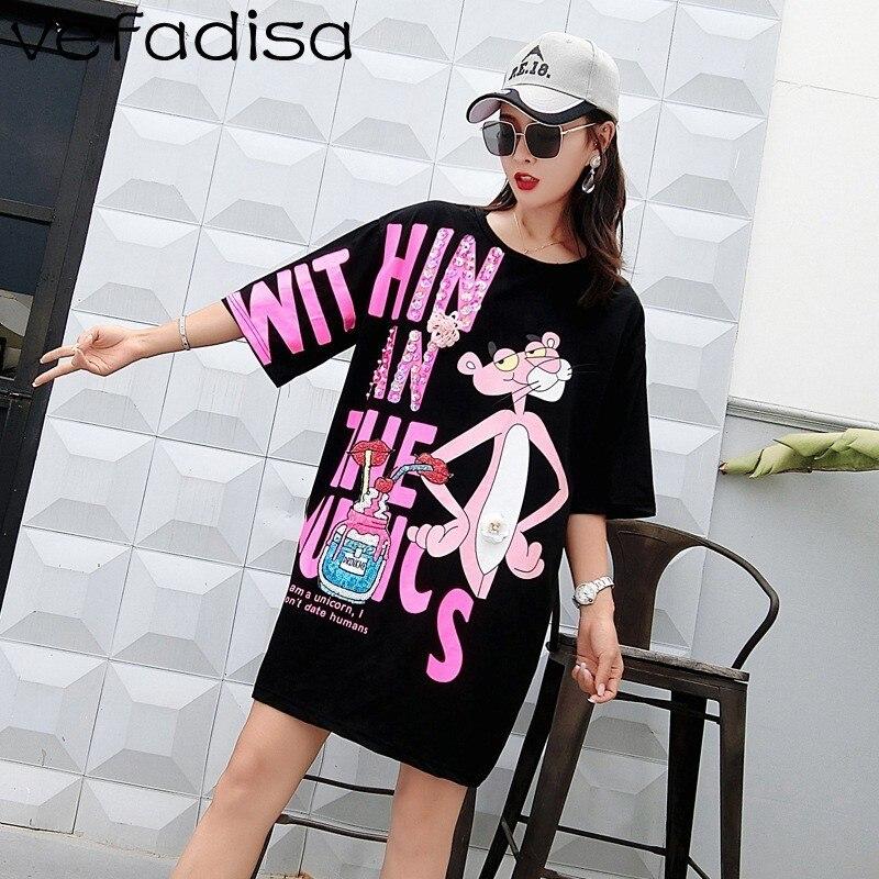 Vefadisa Pink Letter Dress Women Cartoon Printing Dress Half Sleeve Mini Dress Summer Sequin Lips T Shirt Loose Long Tops ZLD840