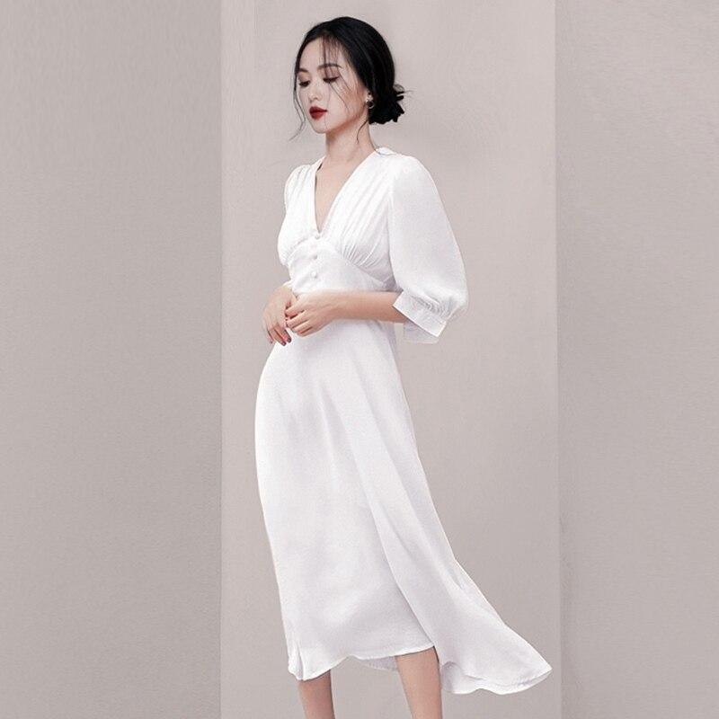 Fashion Women White Vestidos Summer Chiffon Half Sleeve Office Lady Long Dress Vintage Sexy V Neck High Waist Slim Party Dress