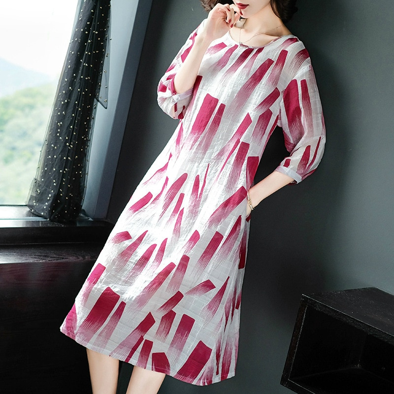19 Spring Summer Ink Painting Print Dress Women Red Blue Half Sleeve Midi Dress Women A-Line Vintage Dresses Ladies Vestidos 2