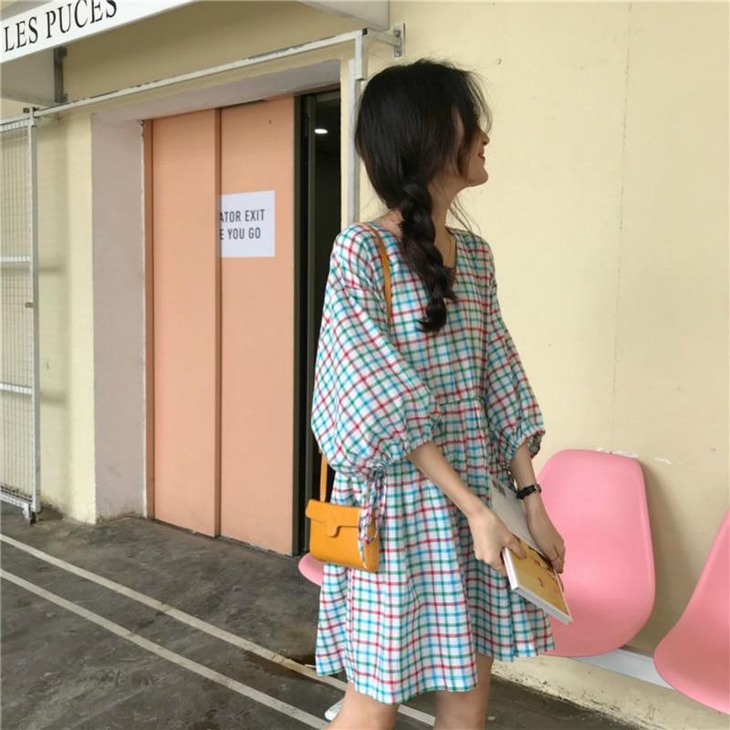 Women Summer Mini Plaid Cotton Dress V-neck Puff Sleeves High Waist Short Vestidos Drawstring Casual Robe Femme Sukienki Jurken 2