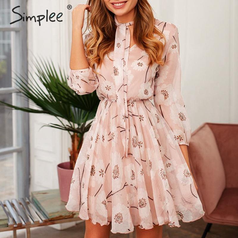 Simplee Vintage women floral dress Elegant High waist work wear office lady dress half sleeve spring summer chic party dress 2