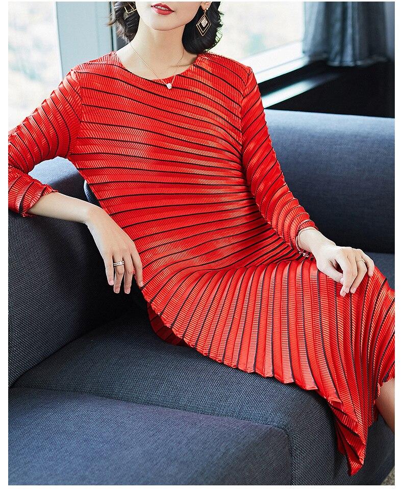 HOT SELLING Miyake fashion solid fold o-neck half sleeve Asymmetrical dresses IN STOCK 3