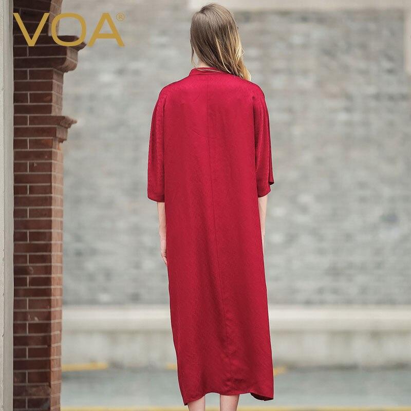 VOA red big code silk Casual dress female 17 Europe and America loose half sleeve silk dress A5978 2