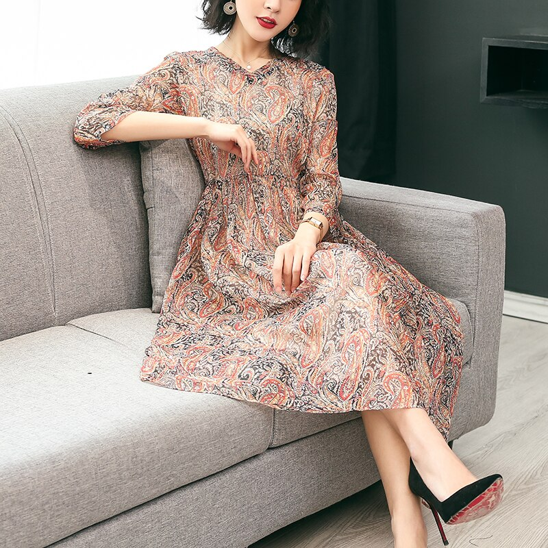 19 New Women's Clothing Spring Summer Fashion Flowers Printing V-neck Dress Half Sleeves Rayon Chiffon Dresses Female 2