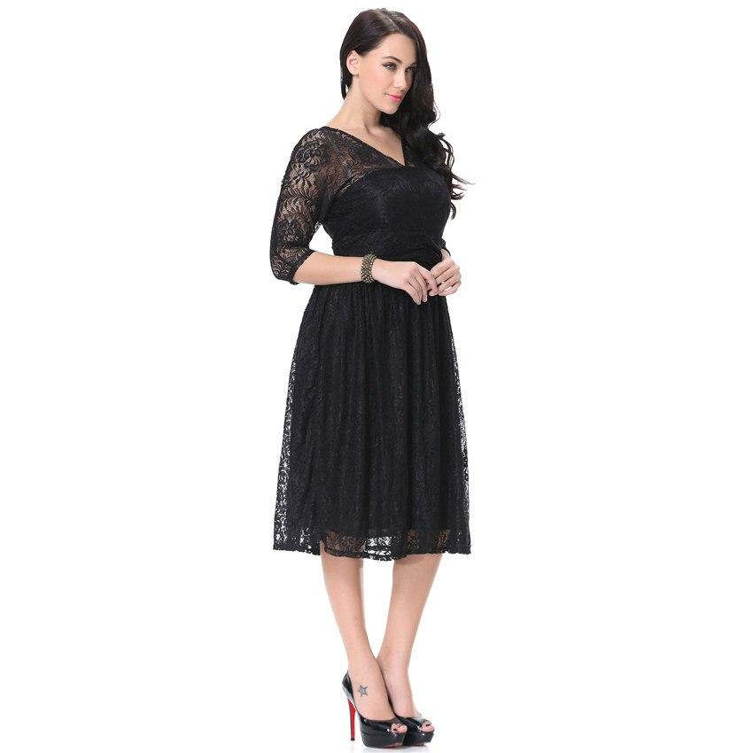 Women Spring Autumn Dress V Neck Half Sleeve Black Lace Dress Big Size 7XL Ball Gown Elegant Evening Club Party Dress 3