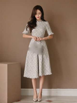 New Casual Fragrant Tweed Dress Elegant Half Sleeve High Waist Plaid Dress Empire Slim Fit A Line Tassel Knee Length Dress