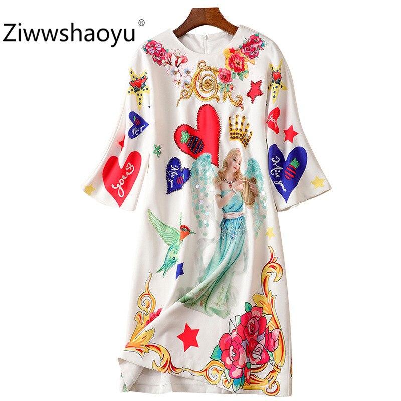 Ziwwshaoyu Fashion Autumn Winter Brand Diamond Sequin Angel Flower Print Half Sleeve Loose Dresses Women's 1
