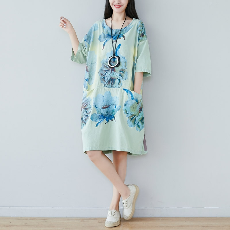 19 summer new literature and art round collar half-sleeve five-minute sleeve dress in the long women loose large size show thin 1