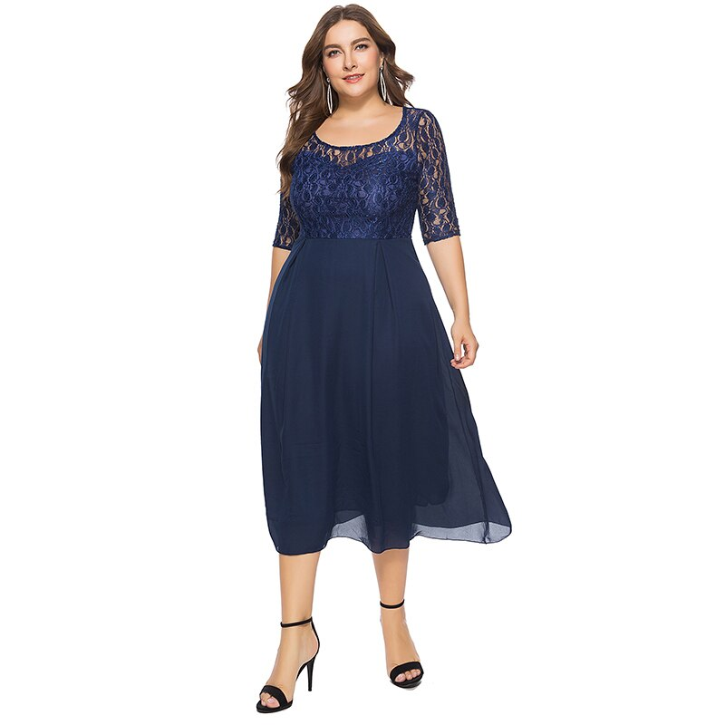 19 Women Spring Autumn Lace Dress O Neck Half Sleeve Plus Size 6XL Patchwork Navy Blue Mid-Calf Chiffon Dress Club Party Dress 1