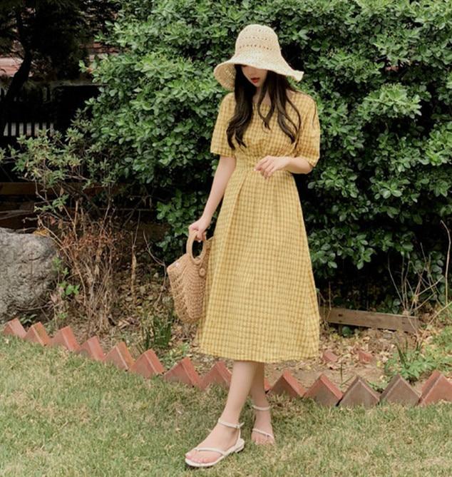 new Summer Dress Women Cotton Linen OL Casual half Sleeve Dresses Female Dress o neck plaid yellow dress Boho Robe Femme Vestido 2