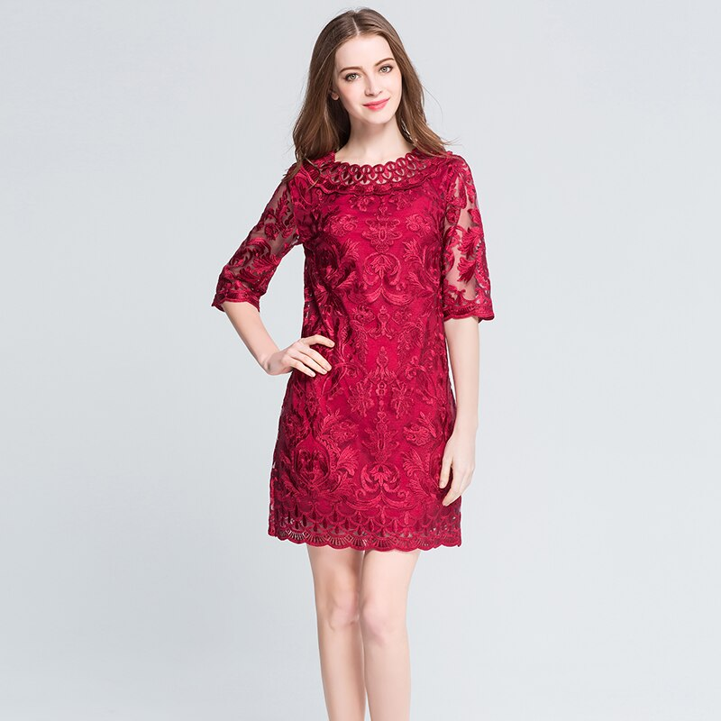 MUSENDA Plus Size Women Hollow Out Lace Embrodery Half Sleeve Red Dress 18 Summer Sundress Lady Casual Fashion Party Dresses 3