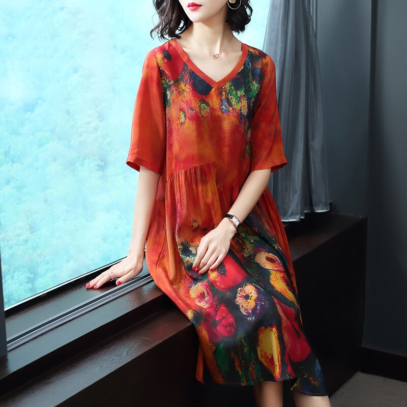 Plus Size Dresses Imitate Real Silk Clothes Loose Women Print Dress New Pattern Half Sleeves Dress Lady Beach Casual Costume 1