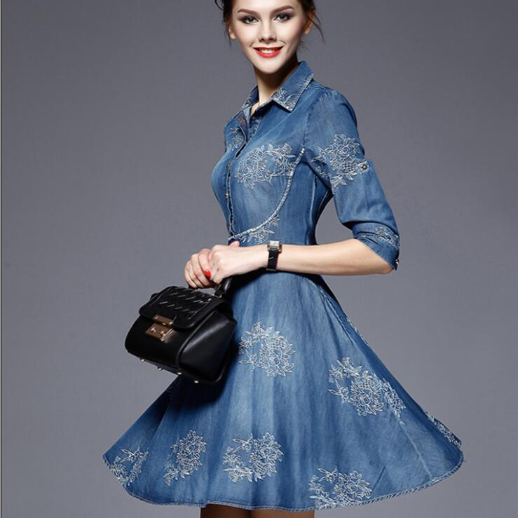 Autumn Vestidos Elegant Slim Half Sleeve Vintage Embroidery Denim Dresses 5XL Plus Size Women 1