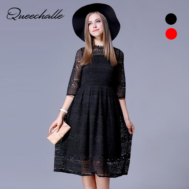 Queechalle Black Red Slim Lace Dresses for Women 19 Spring Hollow Out Half Sleeve Female Dress 3XL 4XL 5XL Plus Size Vestidos 3