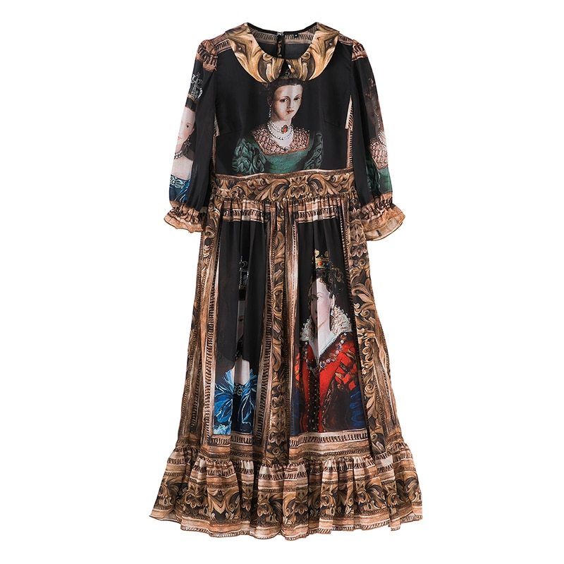 SEQINYY Vintage Dress  Summer Spring New Fashion Design Half Sleeve A-line Painting Printed Midi Black Chiffon Dress 3