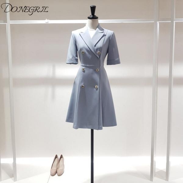 Half sleeve Women Dress Plaid Office Lady Knee-length Pleated Dresses Woman Fashion Elegant Double Breaste women's Clothing